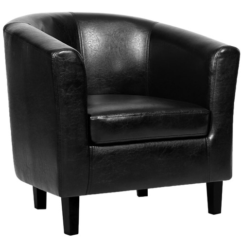 Life Black Abbey Faux Leather Armchair