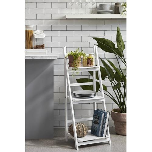 Life White Wooden Ladder Storage Display Shelf