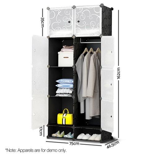Life 10 Cube Black DIY Storage Cabinet Wardrobe