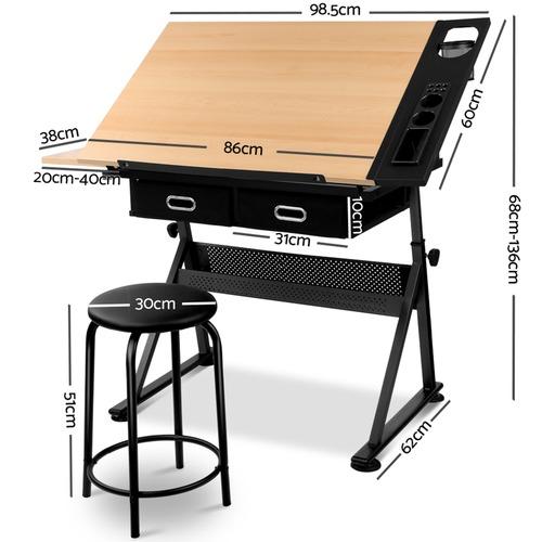 i.Life Tilt Drafting Table & Stool Set