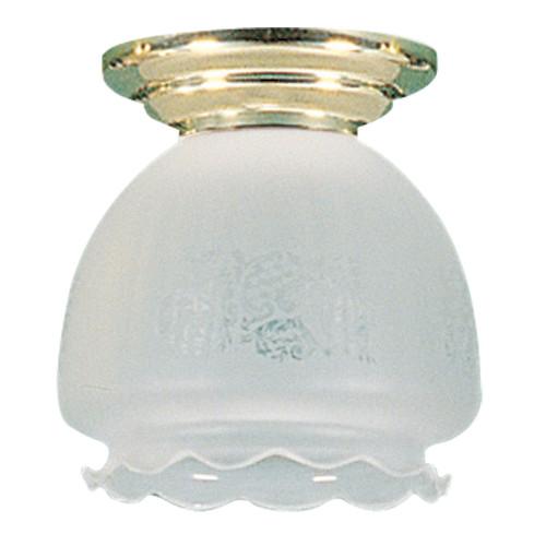Zander Lighting 16cm Bell Frost Batten Fix Flush Mount Light in Brass