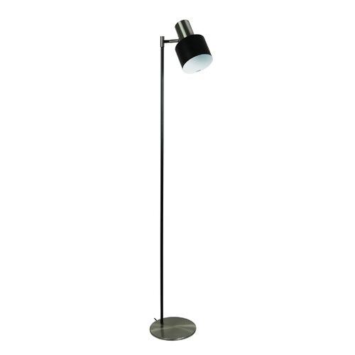 Oriel Lighting Black Ari Floor Lamp with Brushed Chrome Head