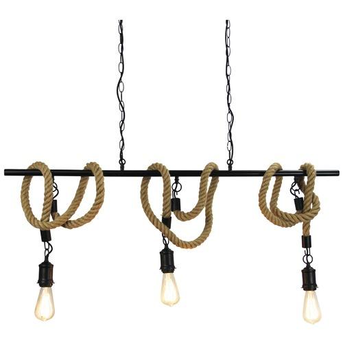 Zander Lighting Black 3 Light Rope Pendant