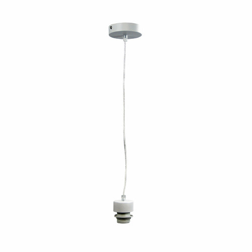Zander Lighting Parti Hanging Light Fixture in White Metal with Clear Cord
