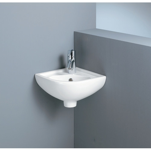Compact corner wall basin temple webster for Builders bathroom warehouse