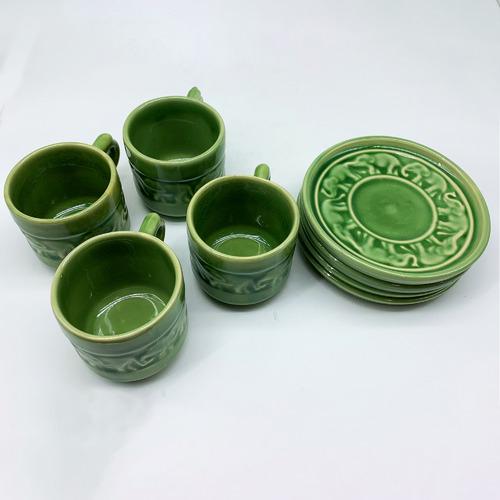 Bouquet House 200ml Celadon Ceramic Coffee Cups & Saucers