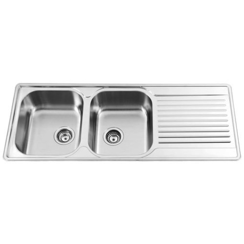 Sterling Prestige Double Bowl Single Drainer Sink in Satin