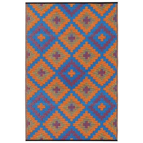 Home & Lifestyle Saman Orange and Blue Rug