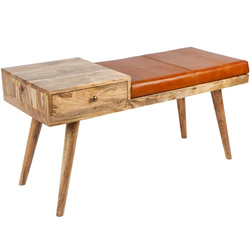 Home & Lifestyle Castor Wood & Leather Bench