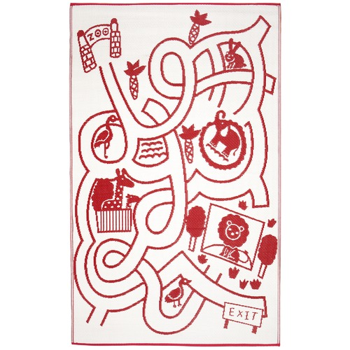Home & Lifestyle Red & White Little Portico Maze Rug