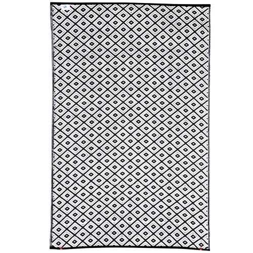 Black & White Kimberley Tile Indoor Outdoor Rug