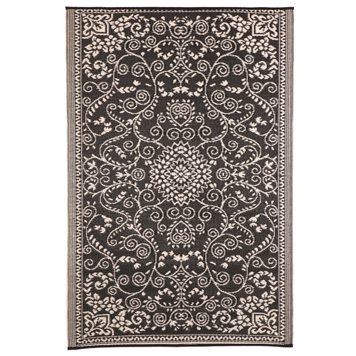 Home & Lifestyle Black & Cream Murano Outdoor Rug