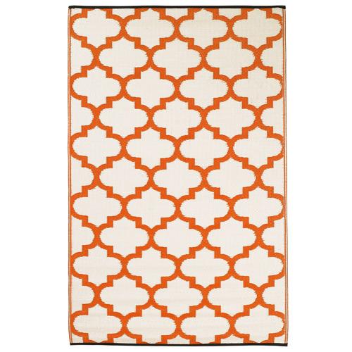 Home & Lifestyle Orange & White Tangier Outdoor Rug