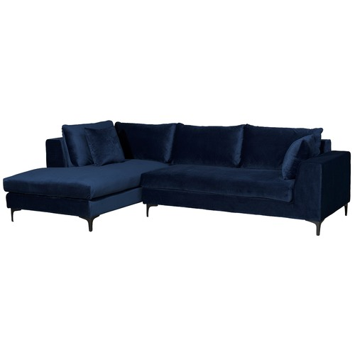 Navy Blue Velvet Brooke 3 Seater Sofa With Chaise Temple