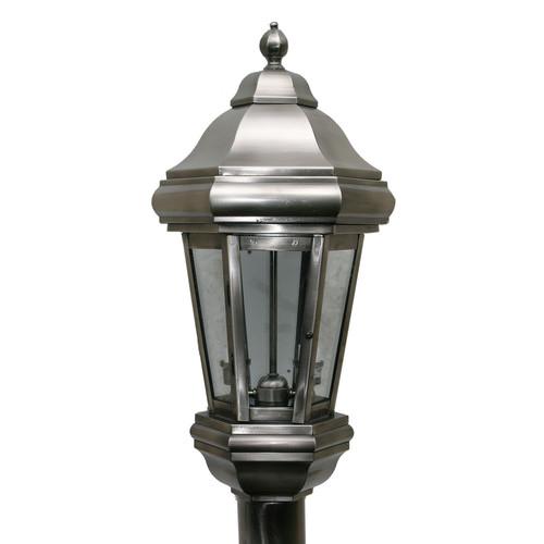 Vintage Solid Brass Pillar Light: Solid Brass Metallic Plated Post Light Top In Antique