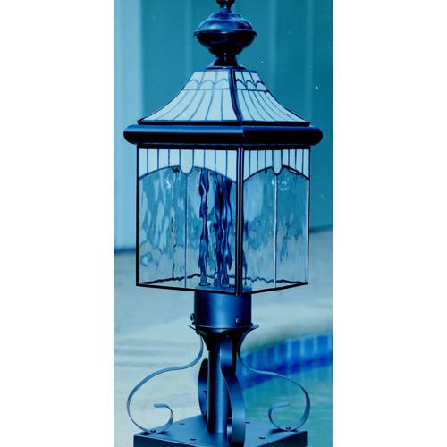 Vintage Solid Brass Pillar Light: Solid Brass Lead Glass Top Canopy Pillar Light In Black