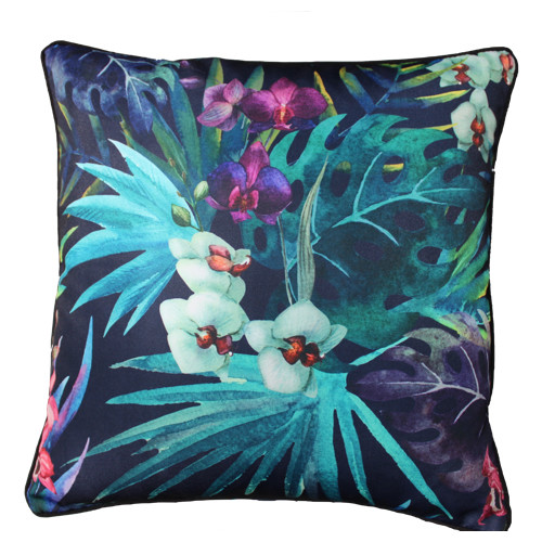 Glamour Paradise Black Cockatoo Flower Outdoor Cushion