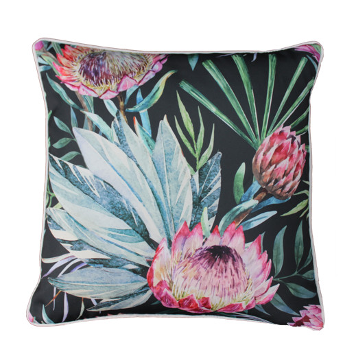 Glamour Paradise Black Protea Flower Outdoor Cushion