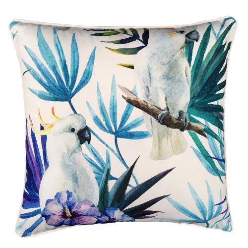 Glamour Paradise White Cockatoo Bird Outdoor Cushion