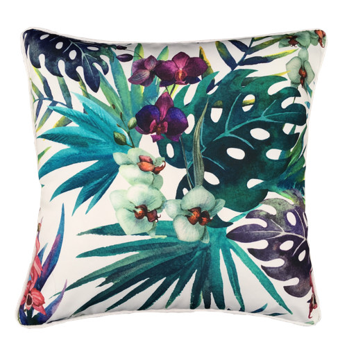 Glamour Paradise White Cockatoo Flower Outdoor Cushion