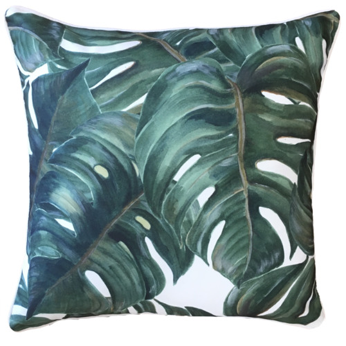 Black & White Monstera Leaf Outdoor Cushion