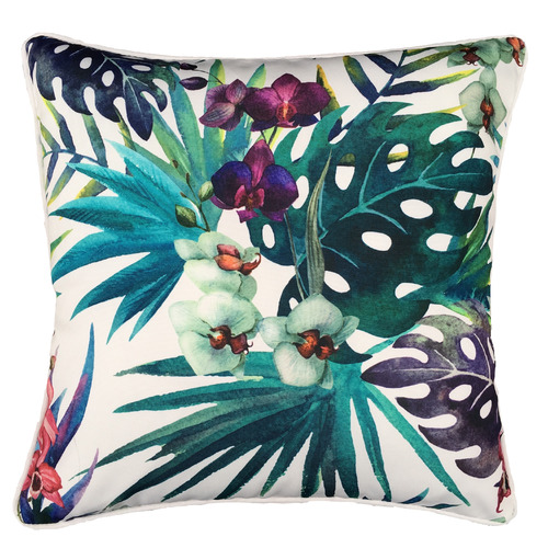White Orchid Flower Outdoor Cushion