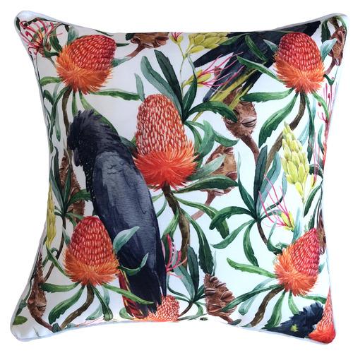 Bottle Brush Bird Outdoor Cushion