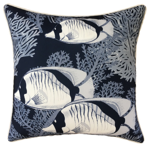 Navy Coral Cove Outdoor Cushion