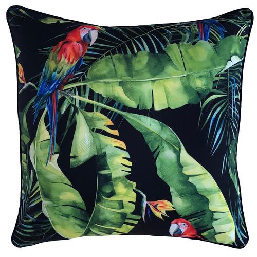 Black Jungle Birds Outdoor Cushion