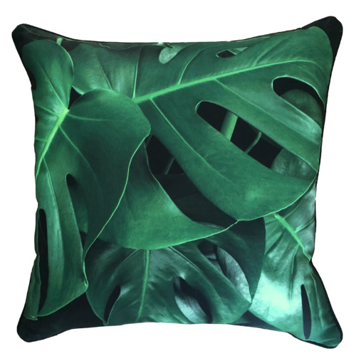 Glamour Paradise Black & Green Monstera Leaf Outdoor Cushion