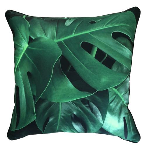 Black & Green Monstera Leaf Outdoor Cushion