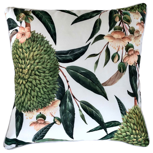White Exotic Blooms Outdoor Cushion