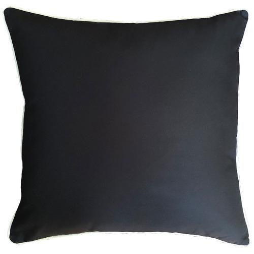 Black Plain Piped Outdoor Cushion