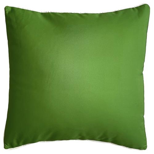 White Piping Plain Outdoor Cushion