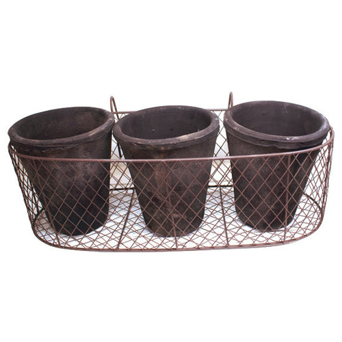 Doormat Designs Wire Holder with 3 Pots