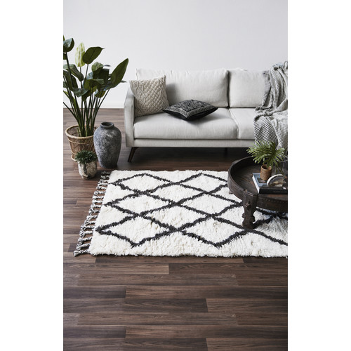 Doormat Designs Berber Wool Shag Rug Mocha Diamond