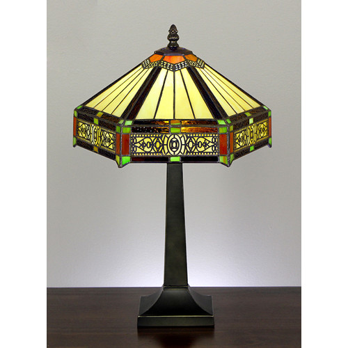 Six sided style stained glass table lamp temple webster forest tiffany six sided style stained glass table lamp aloadofball Image collections