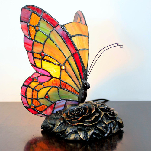 Forest Tiffany Butterfly Accent Table Lamp