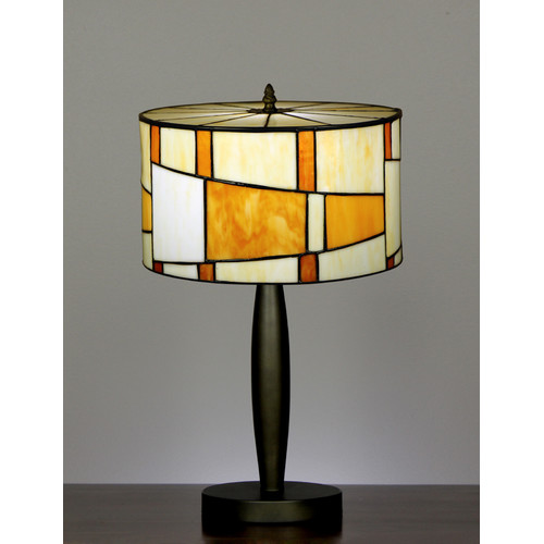 Tiffany Drum Shade Geometric Style Table Lamp