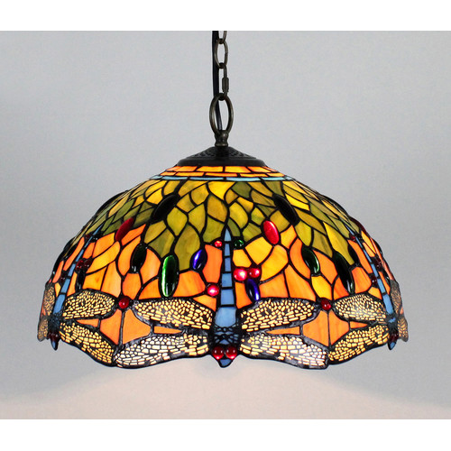 Forest Tiffany Tiffany Dragonfly 2 Light Pendant Light