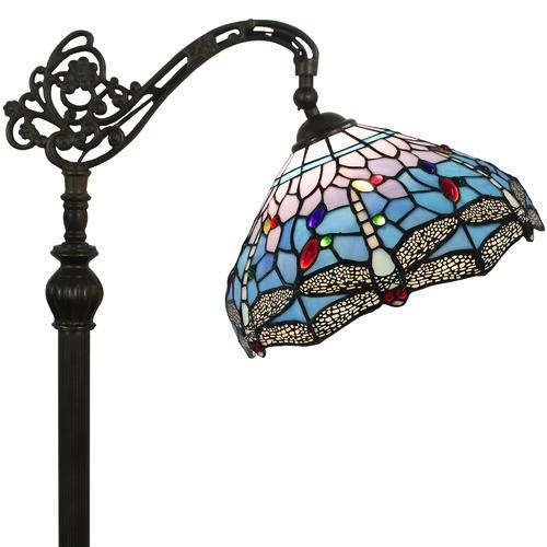 Forest Tiffany Blue Dragonfly Tiffany-Style Floor Lamp