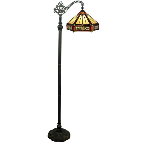 Six-Sided Tiffany Stained Glass Hanging Floor Lamp