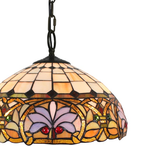 Ivory Victorian Tiffany Stained Glass Pendant Light