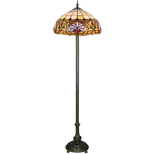 Ivory Victorian Tiffany Stained Glass Floor Lamp