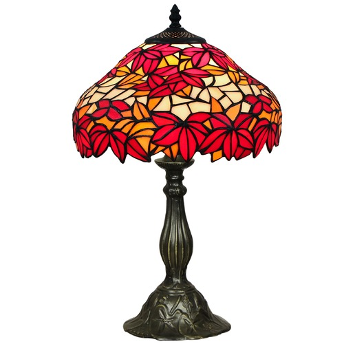 Forest Tiffany One Light Table Lamp in Red