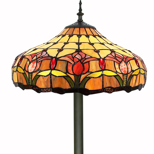 Forest Tiffany Two Light Tulip Floor Lamp