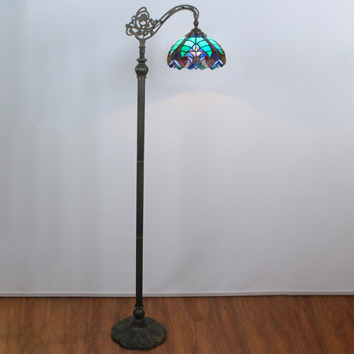 Forest Tiffany Victorian Stained Tiffany Glass Floor Lamp