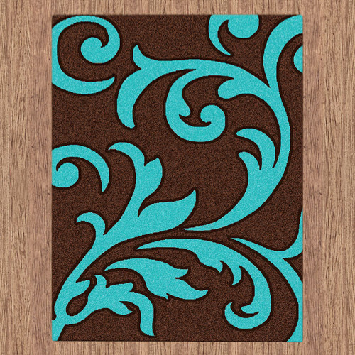 Majestic Carving Brown And Turquoise Contemporary Rug