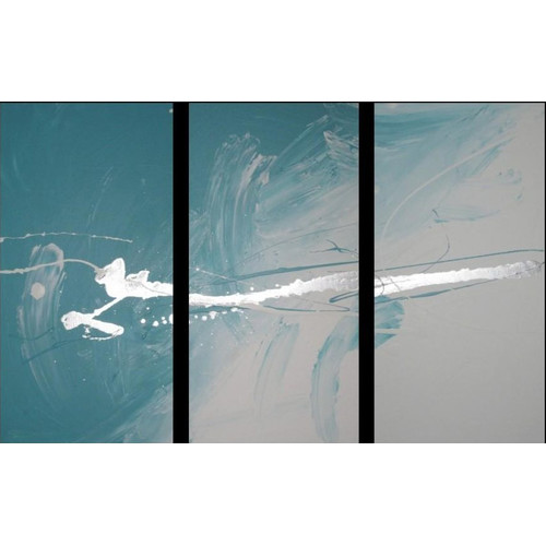 3 piece abstract canvas painting in turquoise and silver temple