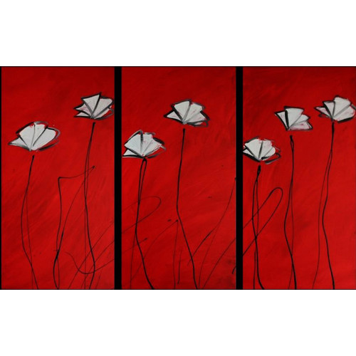 Temple And Webster Rugs St Tropez Black White Diamond Rug  : Decor Abstract Art 3 Piece Abstract Poppies Canvas Painting in Red from adorabeautyshop.com size 500 x 500 jpeg 50kB